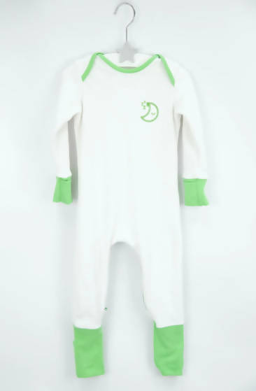 GREEN MISCHIEFSUIT - ZIPPED ORGANIC COTTON BABYGROW WITH FOLDABLE FEET