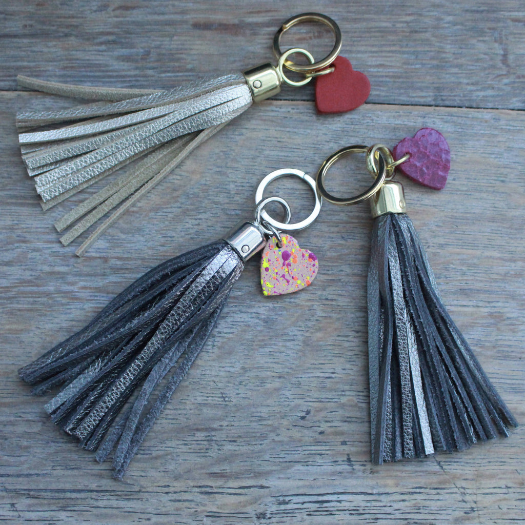 Metallic LeatherTassel Keyring with Hand Painted Heart