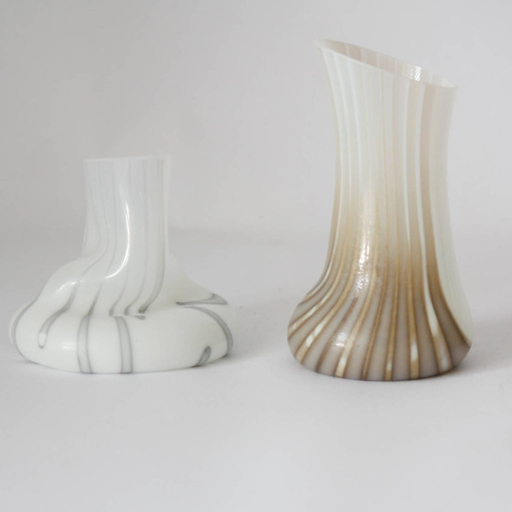 vanilla and dense white small glass vase 2