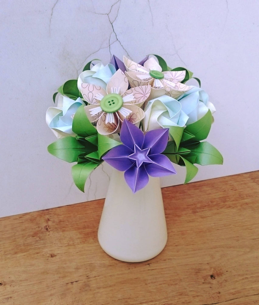 Origami paper flower bouquet in cream turquoise purple and green