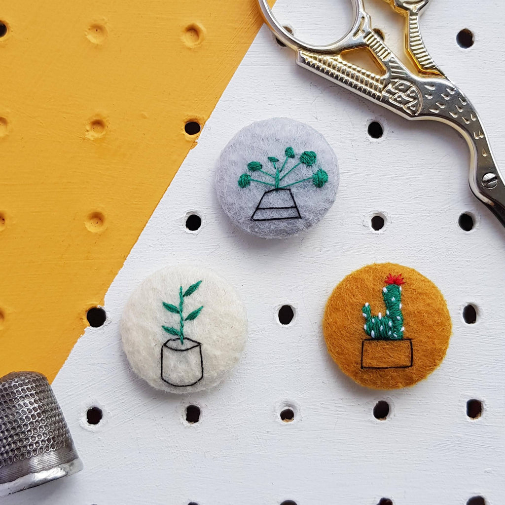 Houseplant embroidered badge set