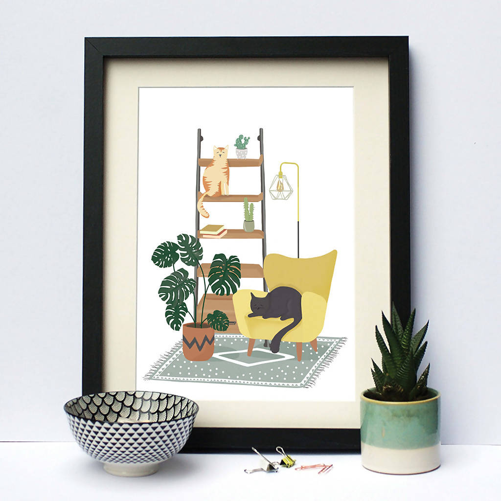 Illustrated Print Cats Home Plants