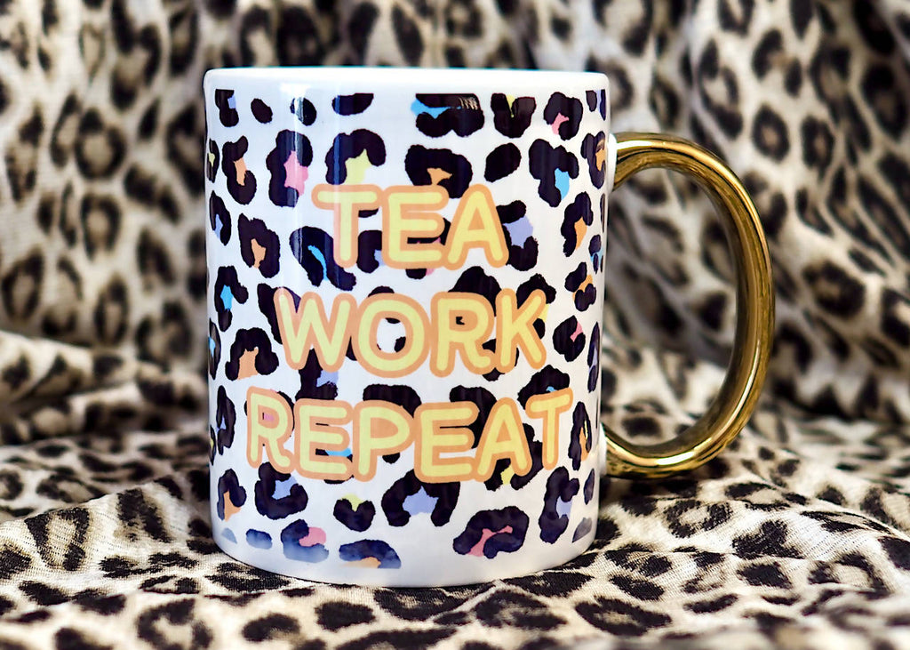 Personalised Rainbow Leopard Print with Gold Handled Mug