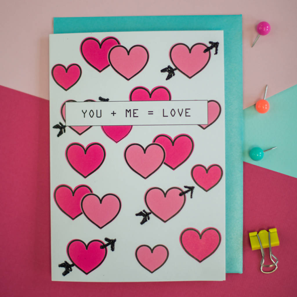 You + me = Love card