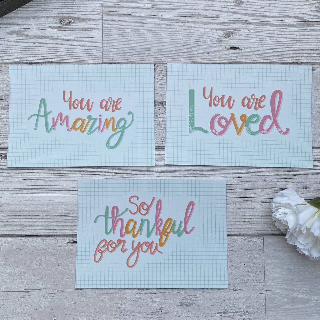 Encouragement Postcard Set - you are so loved, you re amazing, thankful for you