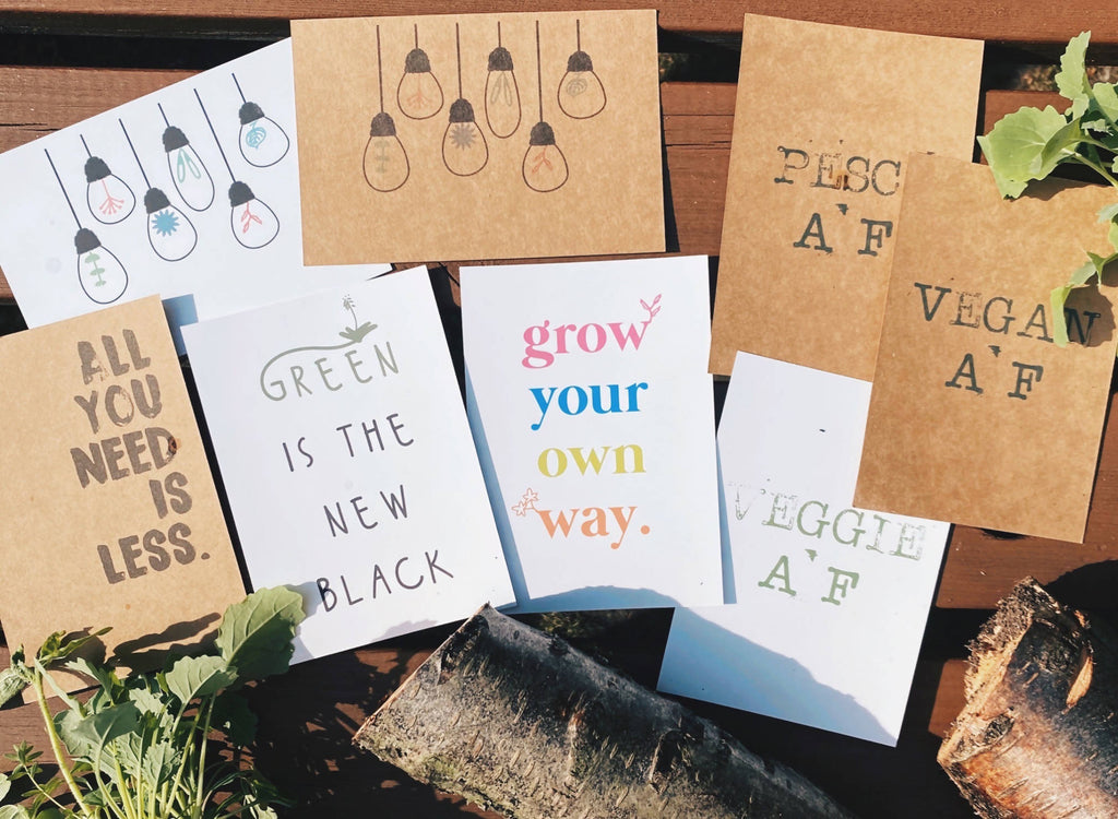 Sustainable living postcards// green cards// love plants// reduce // reuse // recycle // kraft// ethical prints// plant prints// vegan// veg