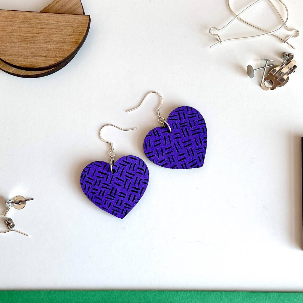 Purple Lines Drop Heart Earrings Painted Wooden Earrings Set