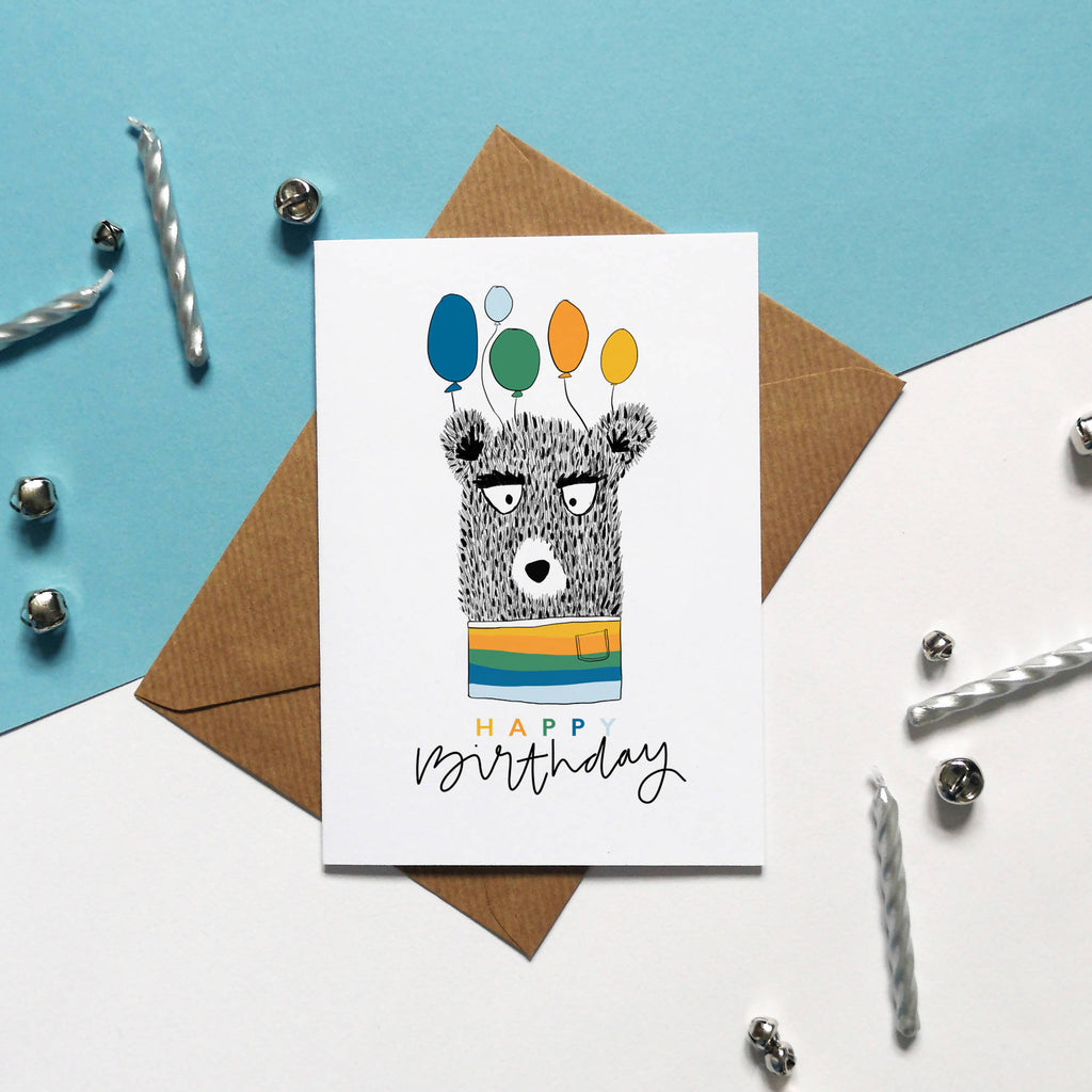 HAPPY BIRTHDAY, Bear holding Balloons Illustrated Birthday Card, Birthday Greeting Card