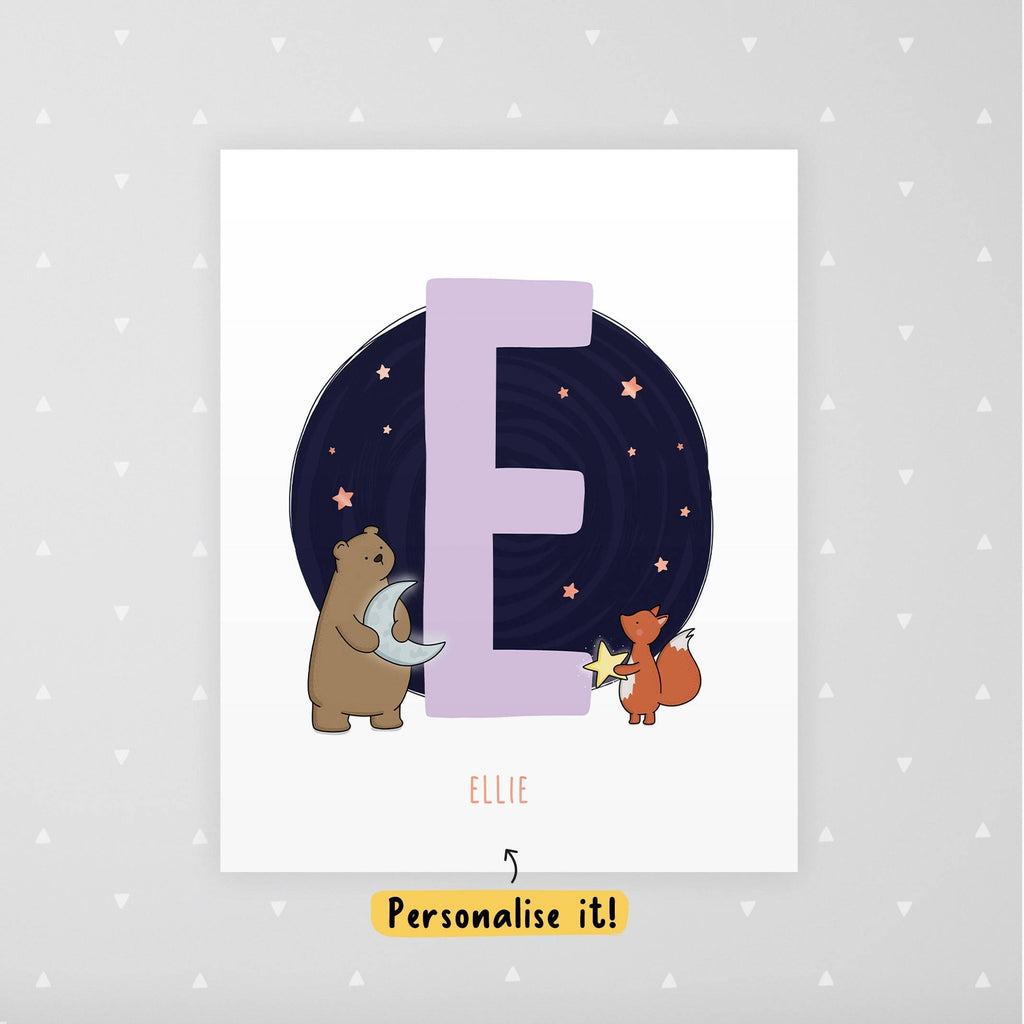 Personalised Children's Name Woodland Animal Foiled Print