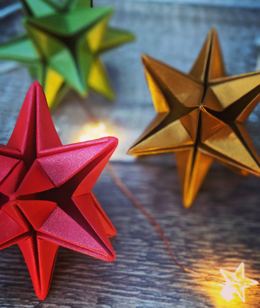 red gold and green Christmas tree decorations