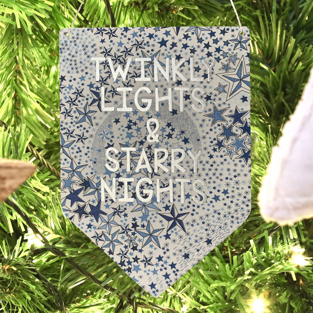 Twinkly Lights and Starry Nights Liberty Print Silver Metallic Banner