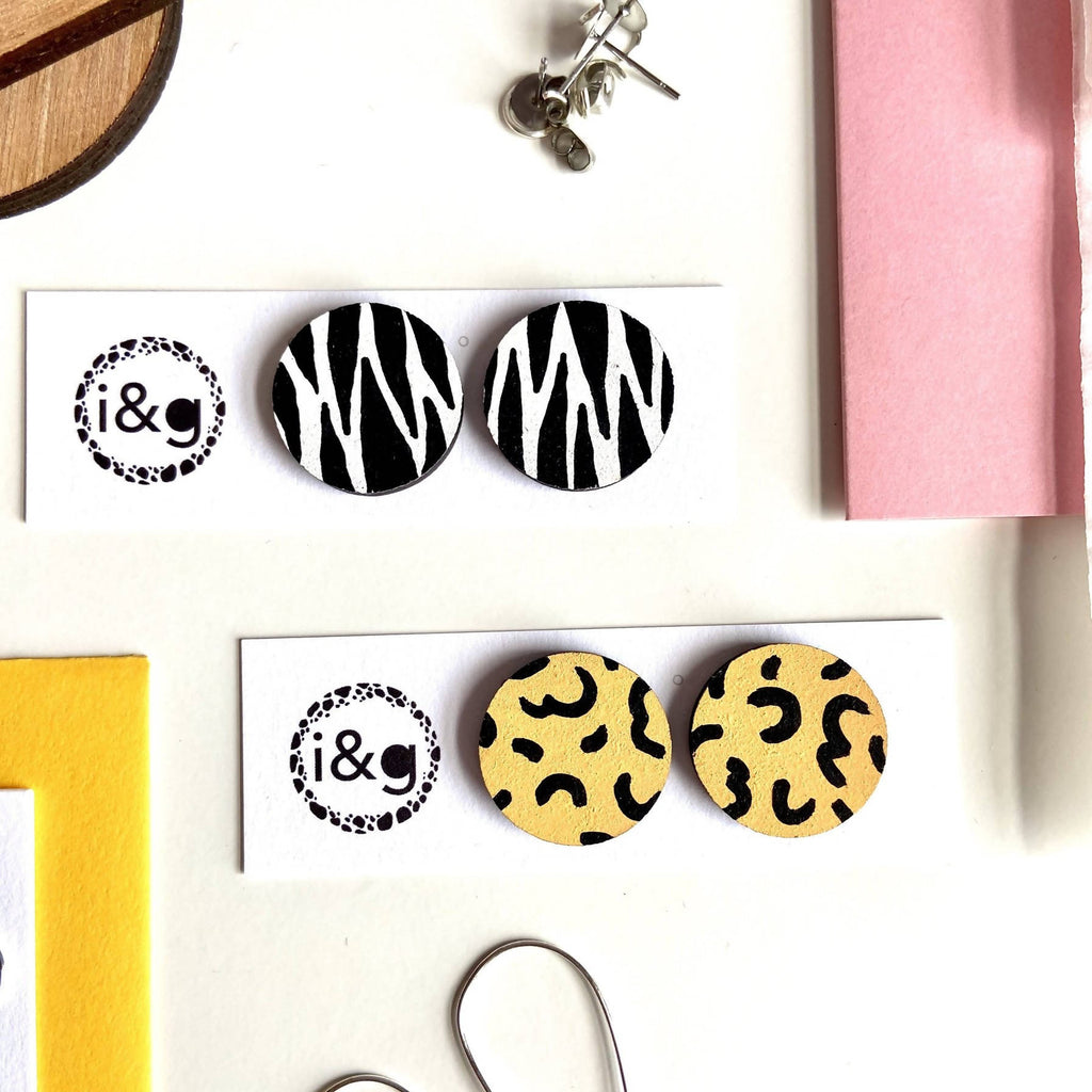 Zebra and Cheetah Wooden Stud Earrings Set of Two