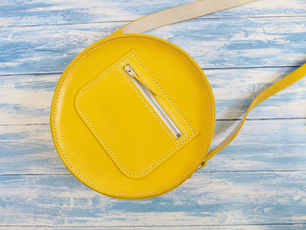 Circular Leather Bag - Women's Round Shoulder Bag in Yellow