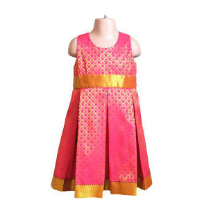 Pink Silk Benares Girls Party Dress