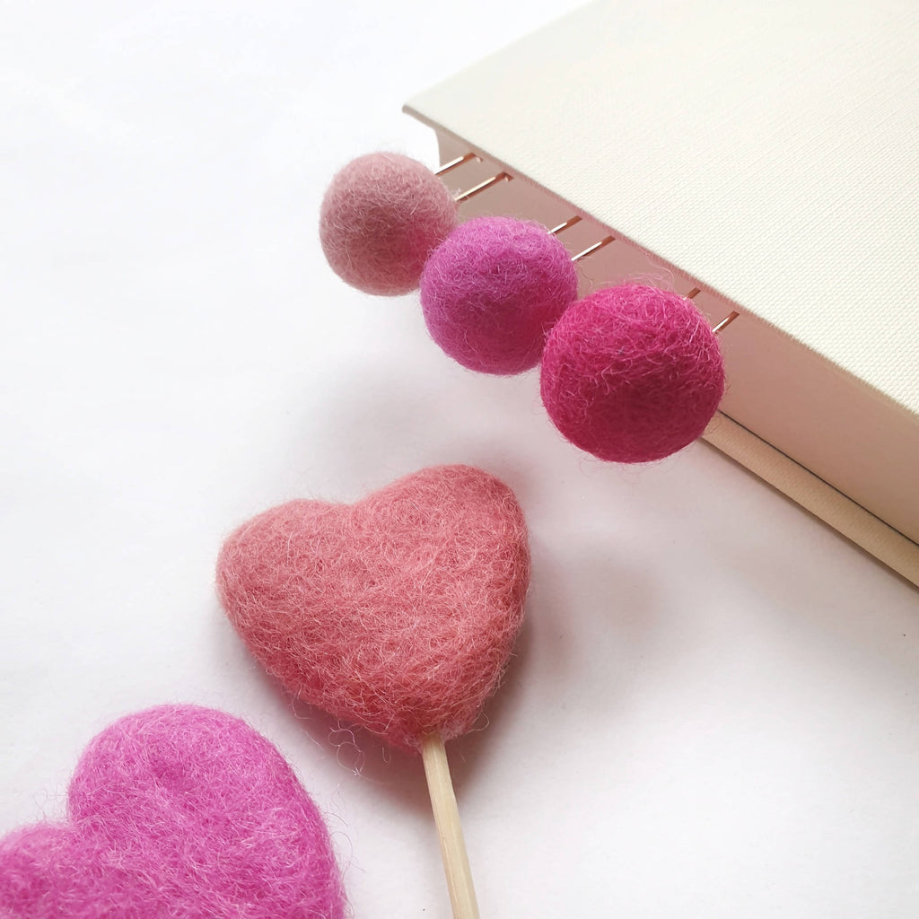 Pink Candy Pom Pom Paperclips - Felt Ball Stationary Bookmarks