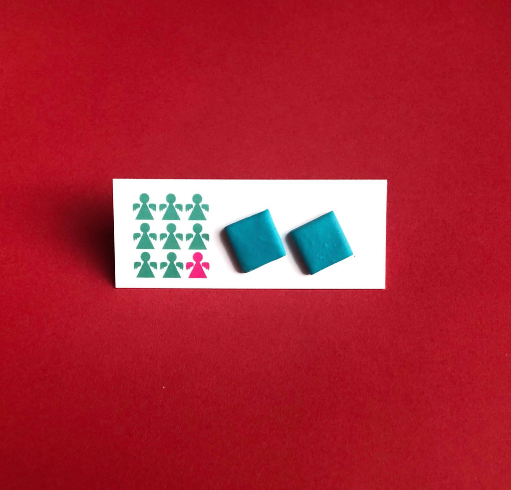 Turquoise square geometric earrings