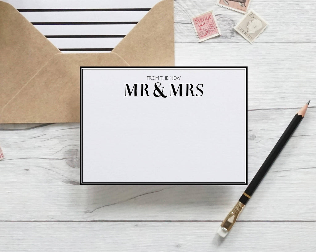 From the New Mr & Mrs, hand lettered notecards