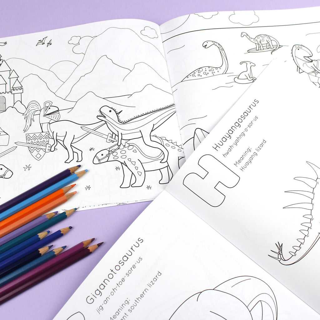 Two pack of colouring books - ABC Dinosaur and Dinosaurs doing stuff