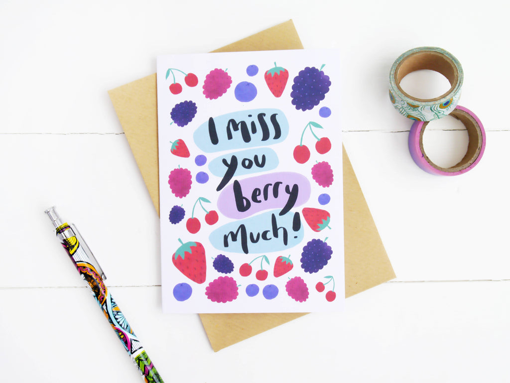 I Miss You Berry Much Greetings Card