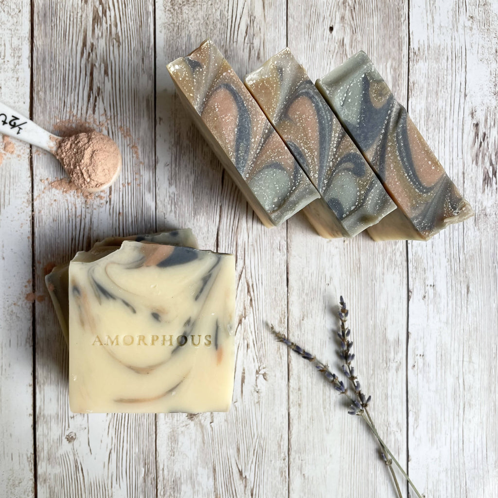 Natural, artisan vegan soap with aloe vera and exfoliating clays, scented with lavender and may chang essential oils