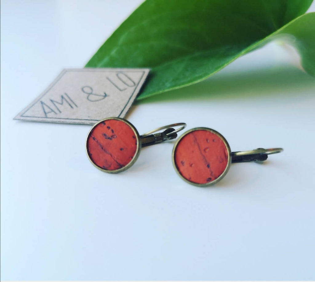 Cork leather drop stud earrings