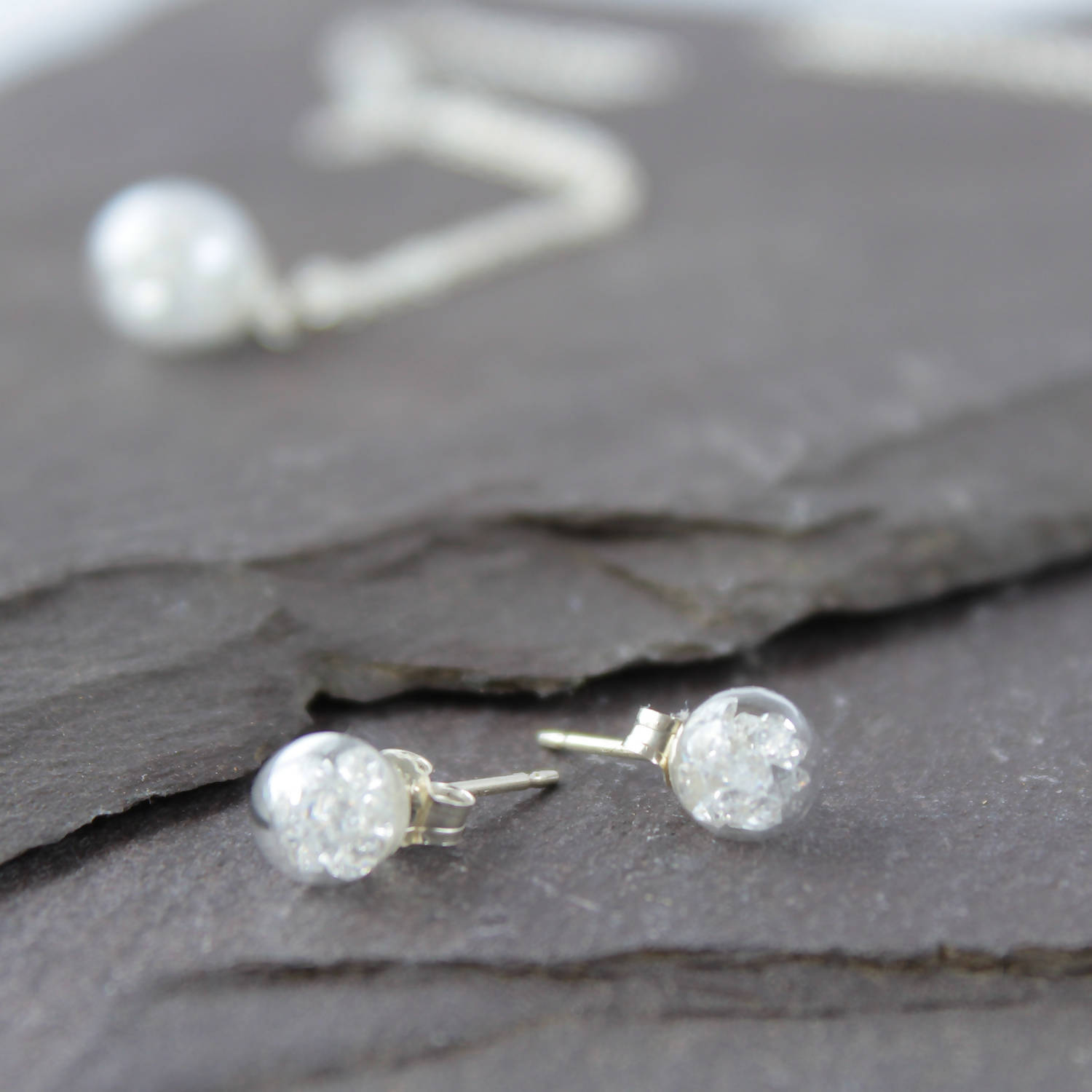 Crystal Sterling Silver Studs