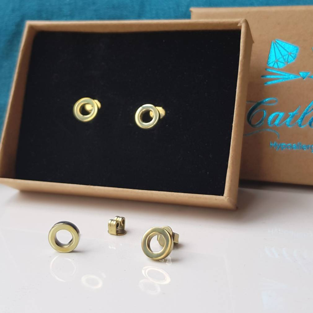 Hypoallergenic Titanium Earrings, Geometric Circles Studs in 5 Colours
