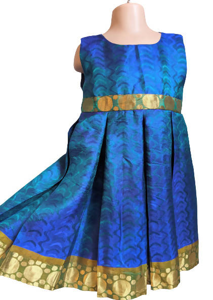 Blue Gold Shimmer Girls Party Dress