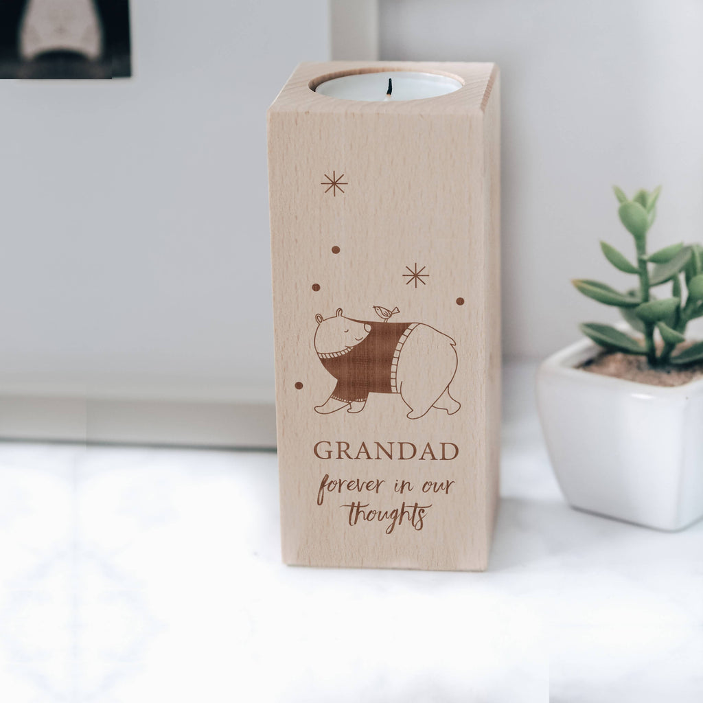 Engraved Wooden Memorial Tea Light Candle Holder with Bear and Bird