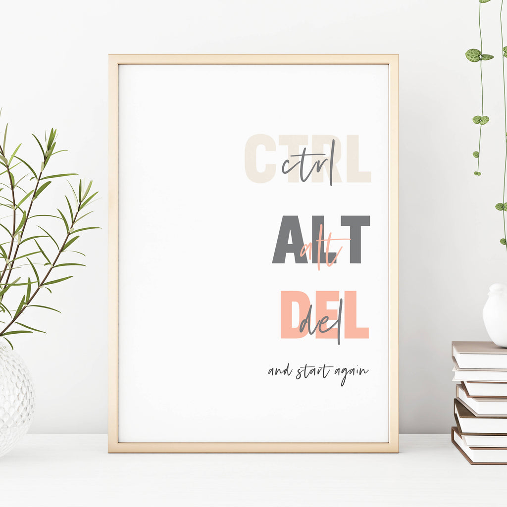 CTRL ALT DEL Funny Motivational Print