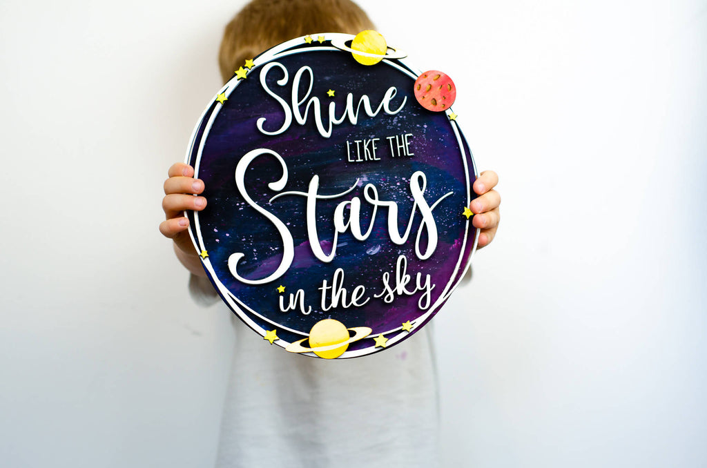 Shine like the stars in the sky wooden wall art