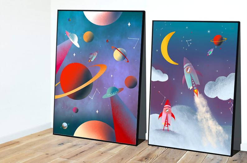 Rockets Print / Space Print / Planets / Nursery Print / Children's Print / Home Prints