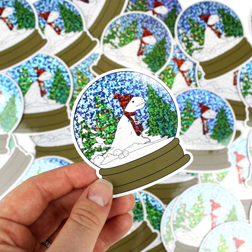 Glitter snow globe sticker