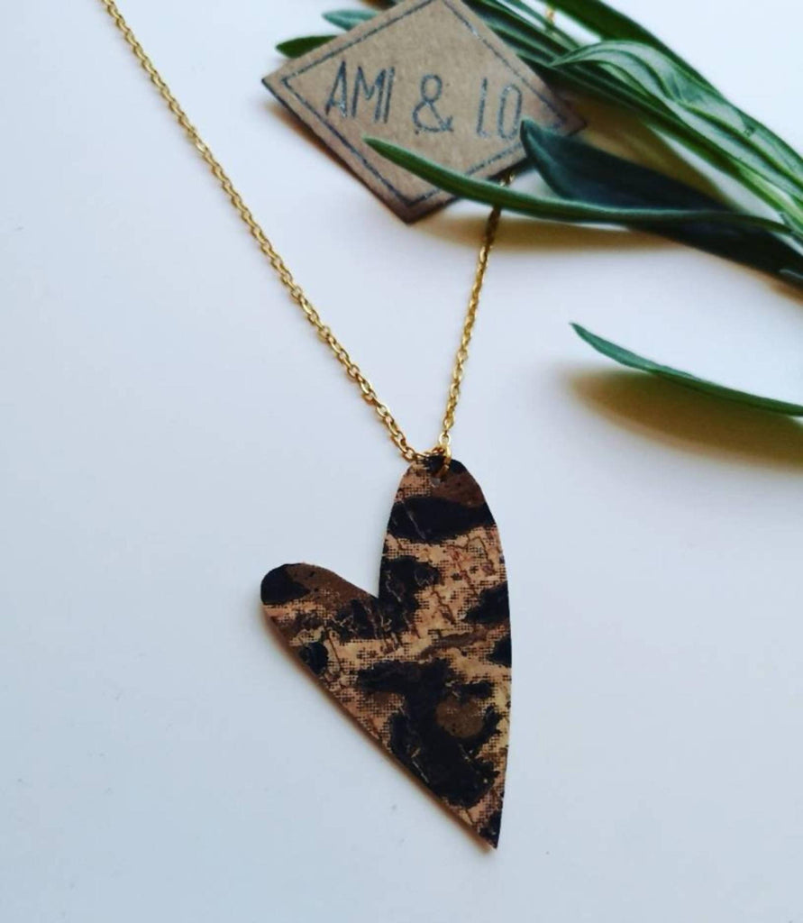 Cork leather heart necklace