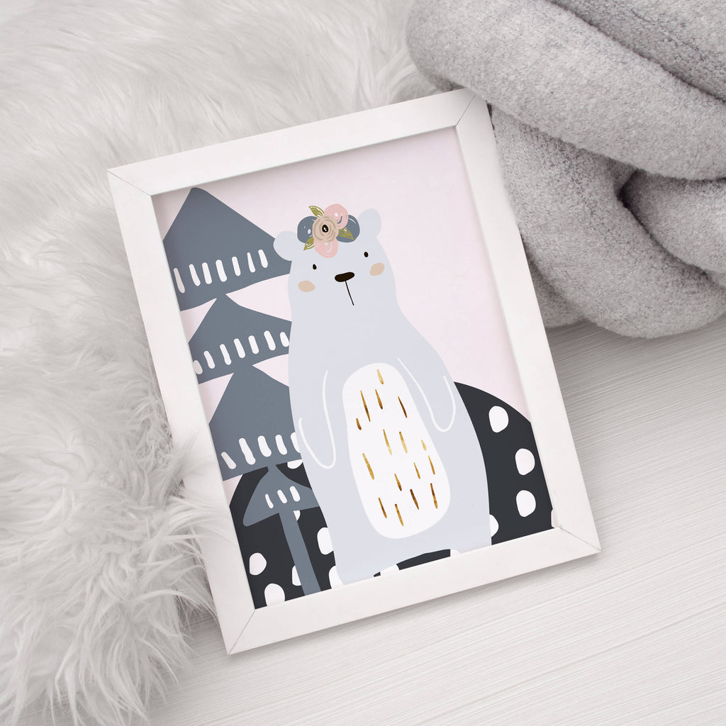 Woodland Scandinavian Bear Wall Art Print