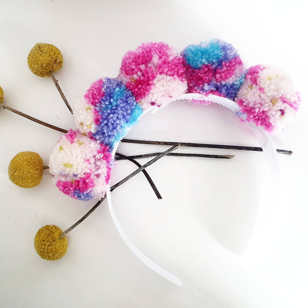 Pom pom crown/headband