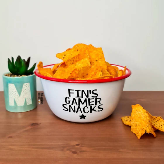 PERSONALISED GAMER SNACKS RED ENAMEL BOWL - SMALL