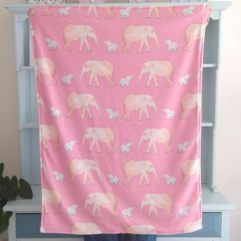 Pink Elephant and Baby Fleece Blanket