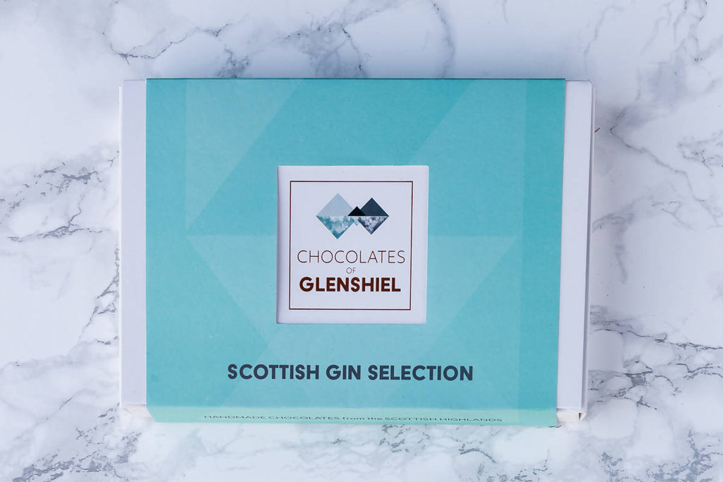 Large Scottish Gin Infused Chocolate Gift Box with Rock Rose, Edinburgh & Harris Gins