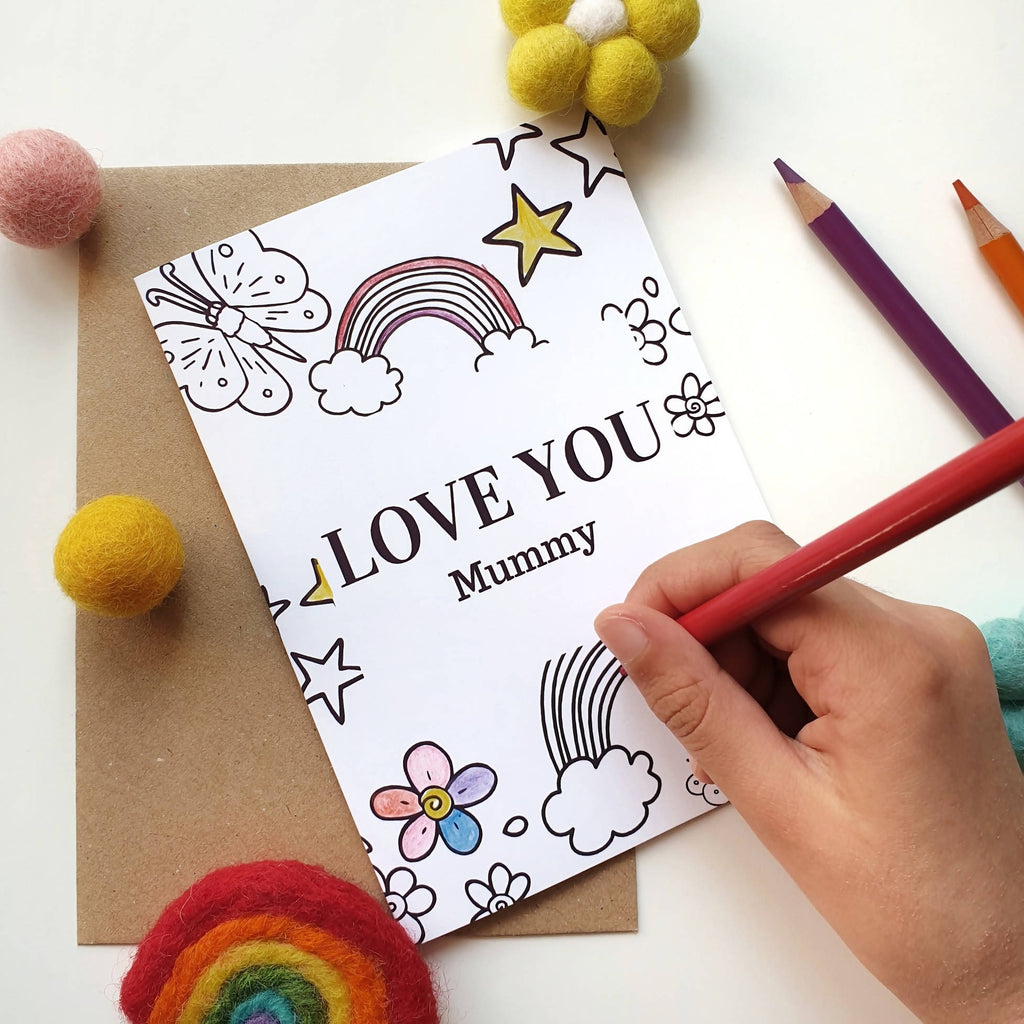 Colour Me In Personalised Mothers Day Rainbow Butterfly Design - A6 Greeting Card