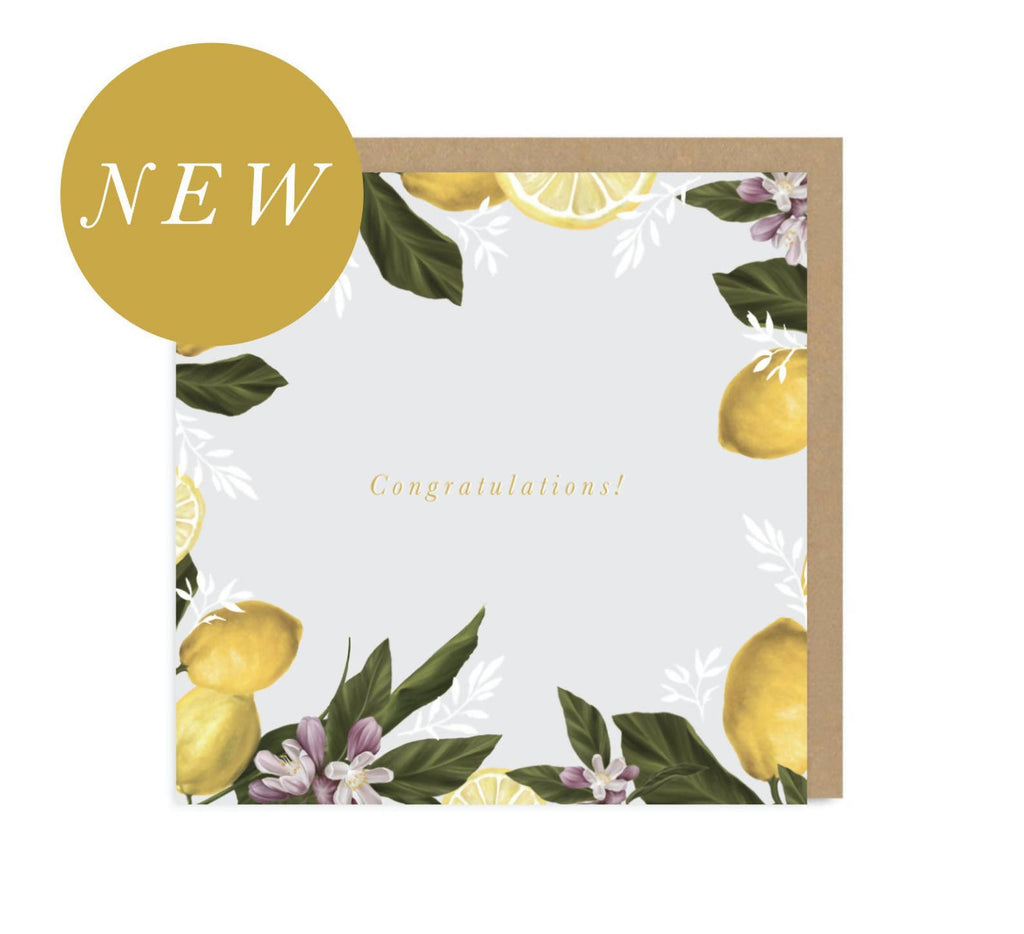 Congratulations | Lemons | Gold | Metallic | Weddings | New Home | Good Luck | Engagement | Greetings Card | Hand Finished | Amy Olivia Harris Designs