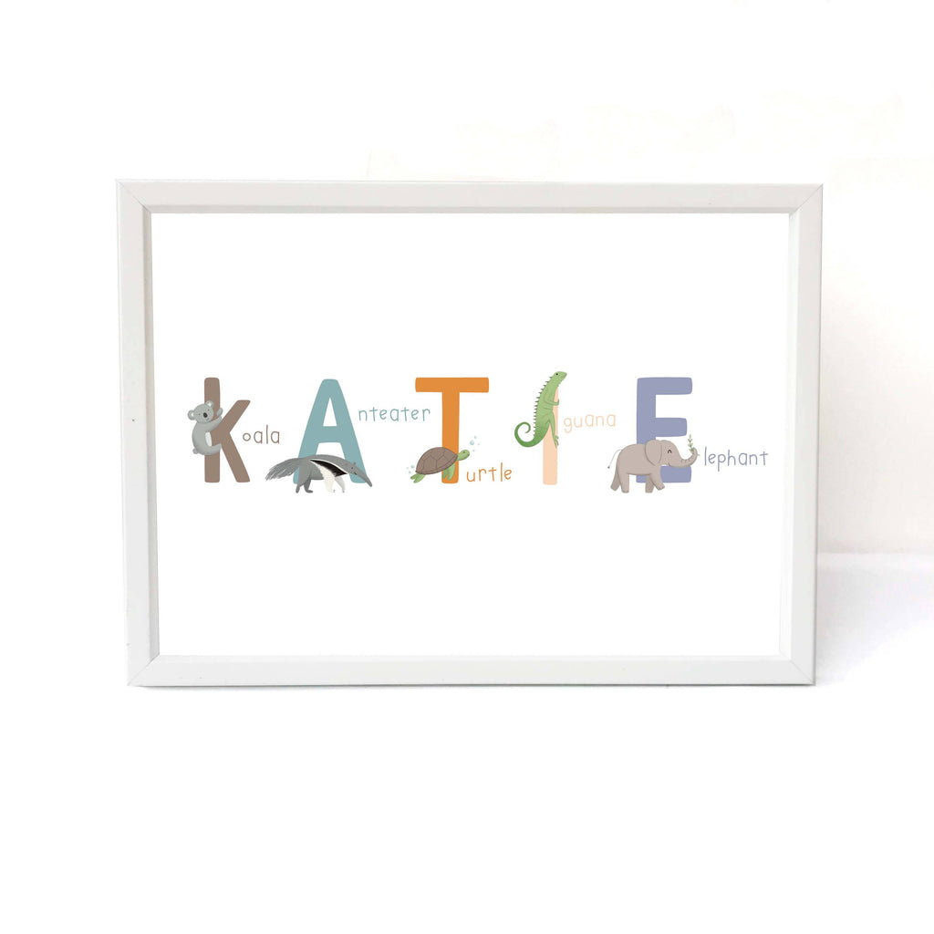 Personalised Animal Name Baby Print