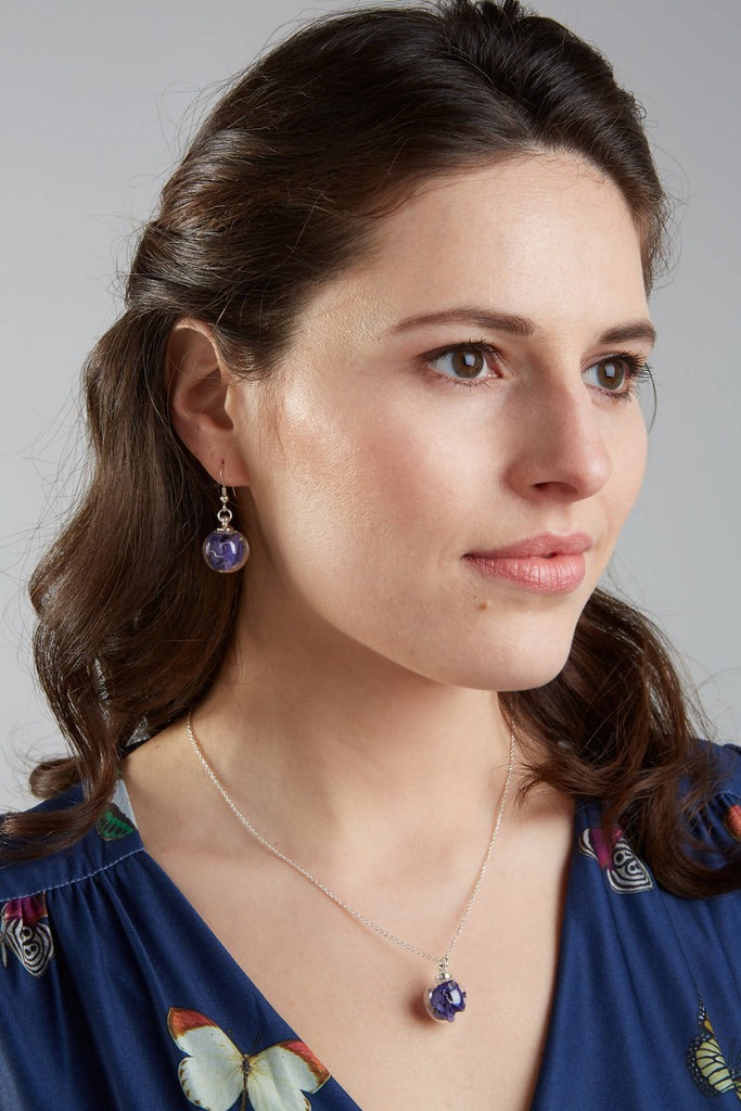 Midnight Blue Petal Earrings with Long Sterling Silver Drops