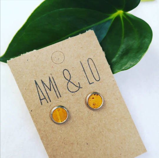 Mustard cork leather stainless steel studs, Ami and Lo, Andsotoshop