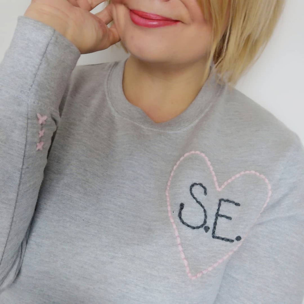 Love Heart Embroidered Grey Sweater