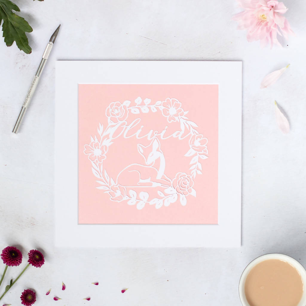 Personalised Fawn Paper Cut