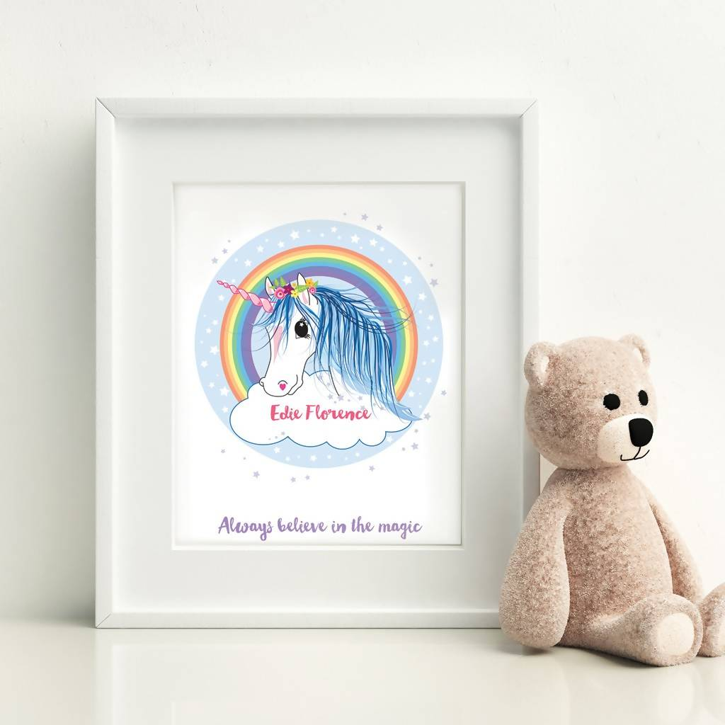 Children's Personalised Unicorn Print