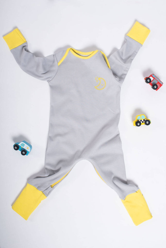 Rainbow Zip Organic Cotton Mischiefsuit with Foldable Feet