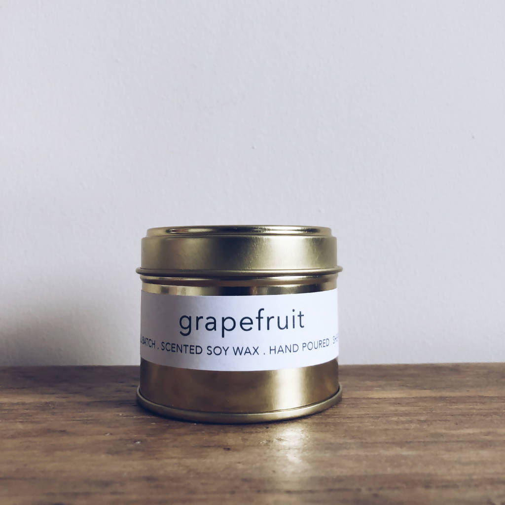 Grapefruit Scented Gold Tin Candle