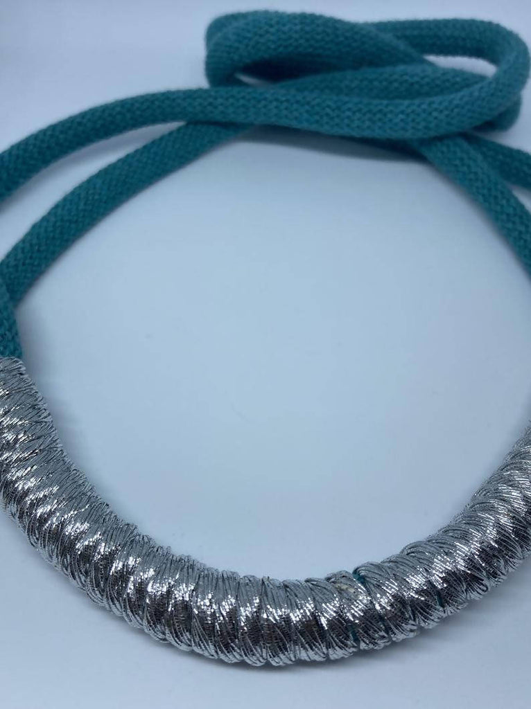 Teal and Silver Statement Necklace